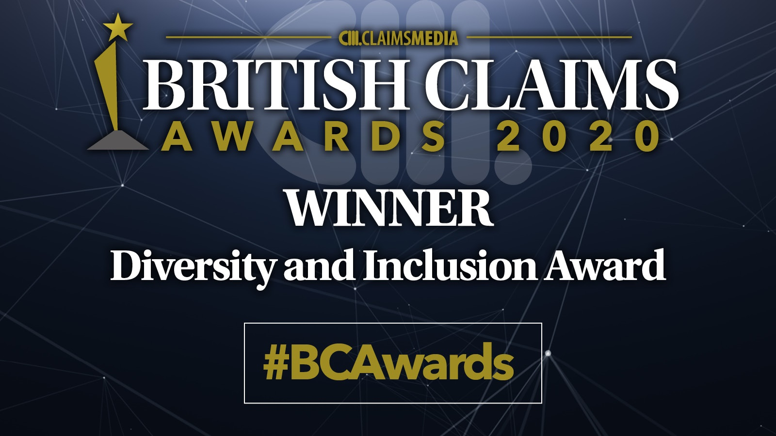 British Claims Awards 2020 Winner Diversity and Inclustion Award